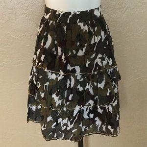 Lane Bryant  Tiered Camo Sparkle Skirt Boho 14 16
